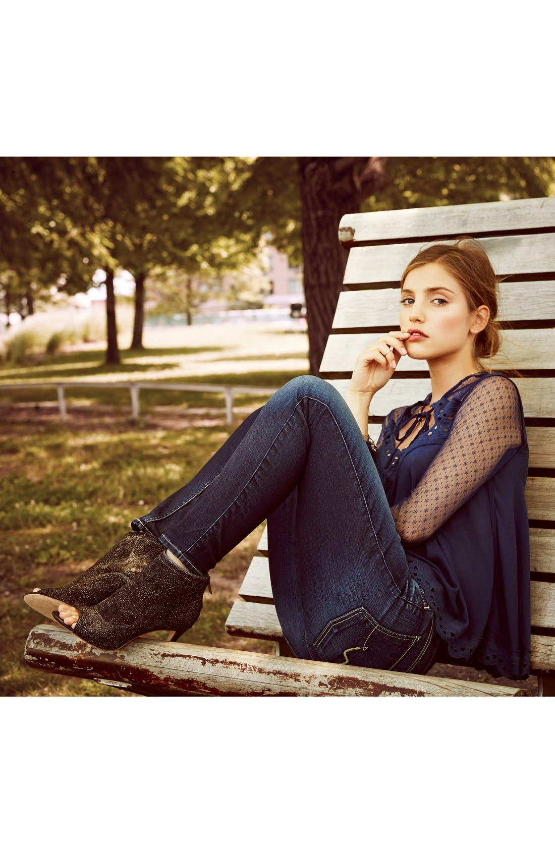 Alternate Image 1 Selected - Free People Blouse & 7 For All Mankind® Ankle Skinny Jeans