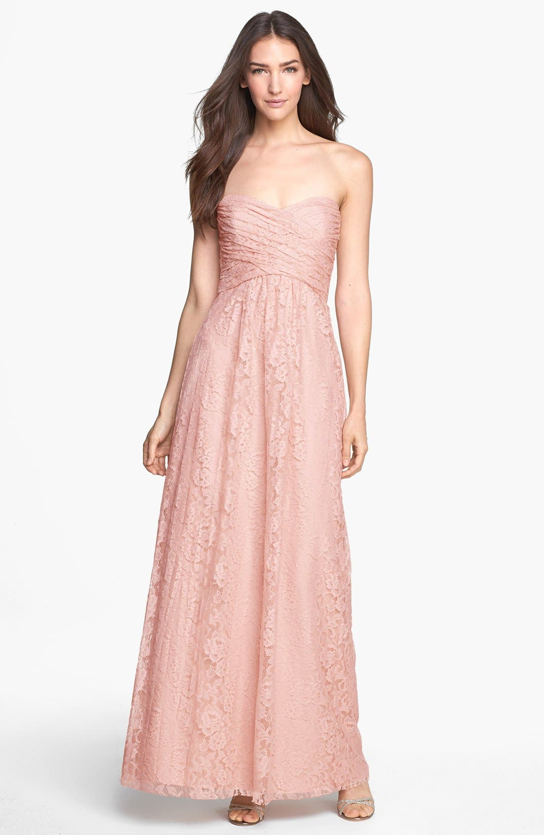 Main Image - Amsale Pleated Lace Sweetheart Strapless Gown
