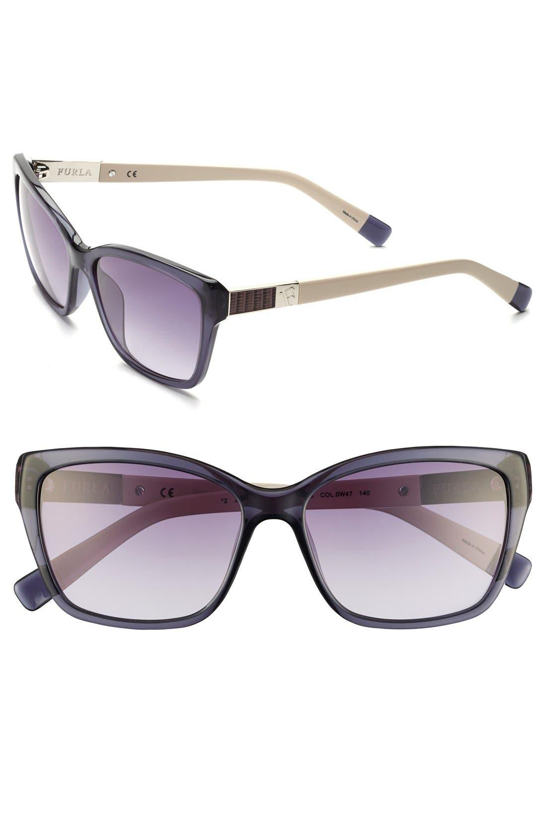 Alternate Image 1 Selected - Furla 56mm Leather Insert Sunglasses