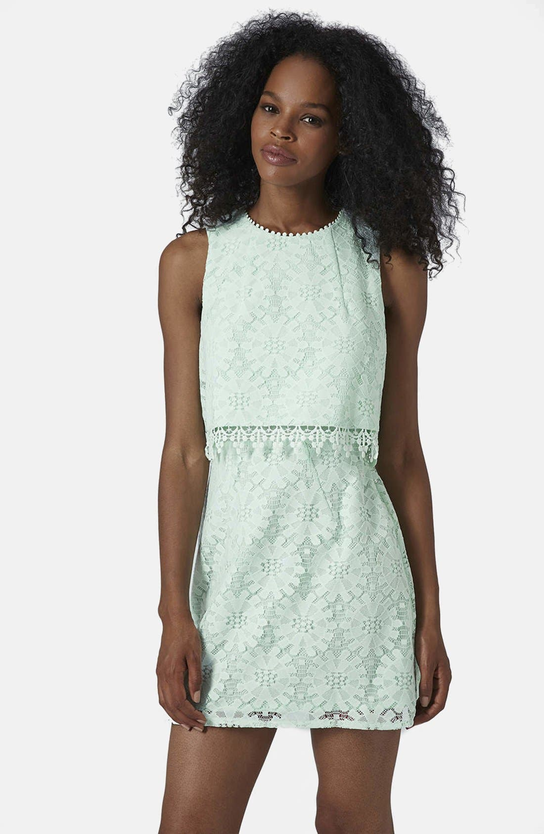 Main Image - Topshop Lace Tiered Shift Dress