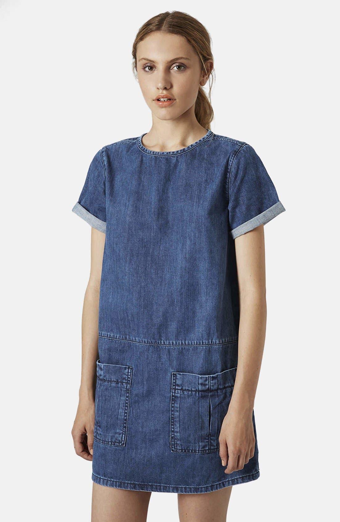 Alternate Image 1 Selected - Topshop Moto Denim T-Shirt Dress