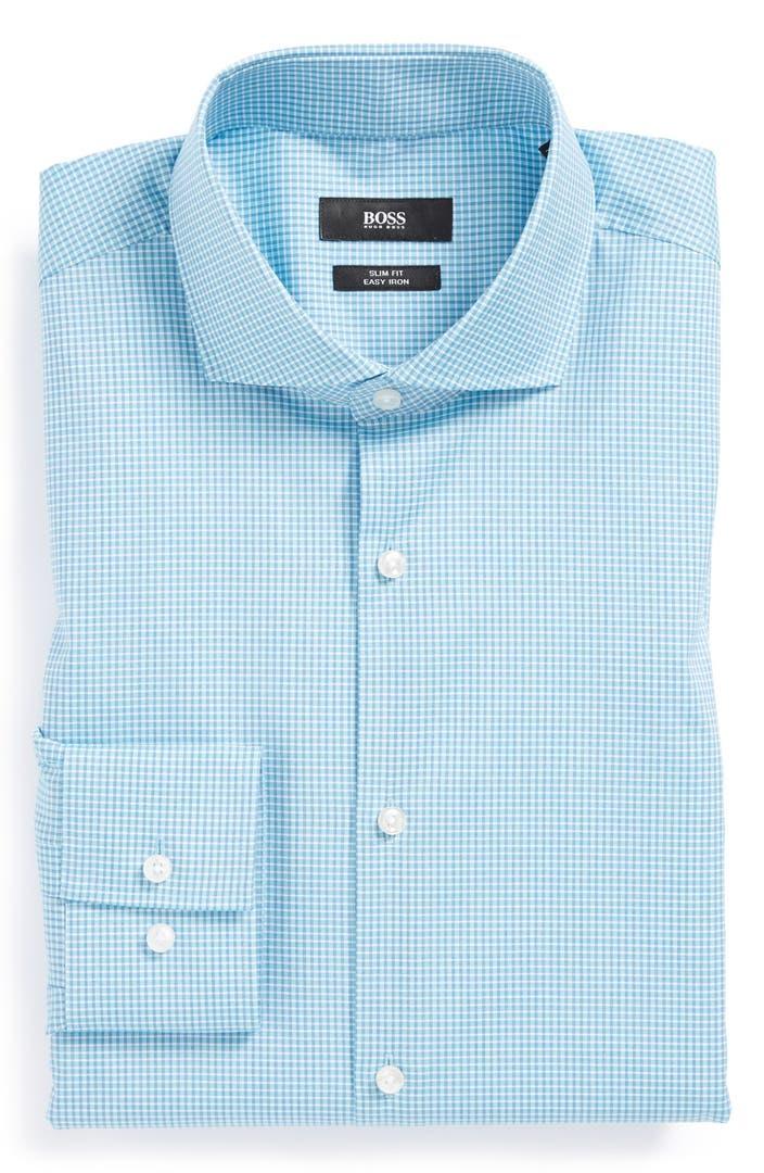 Boss hugo boss 39 jason 39 slim fit easy iron dress shirt for Hugo boss jason shirt