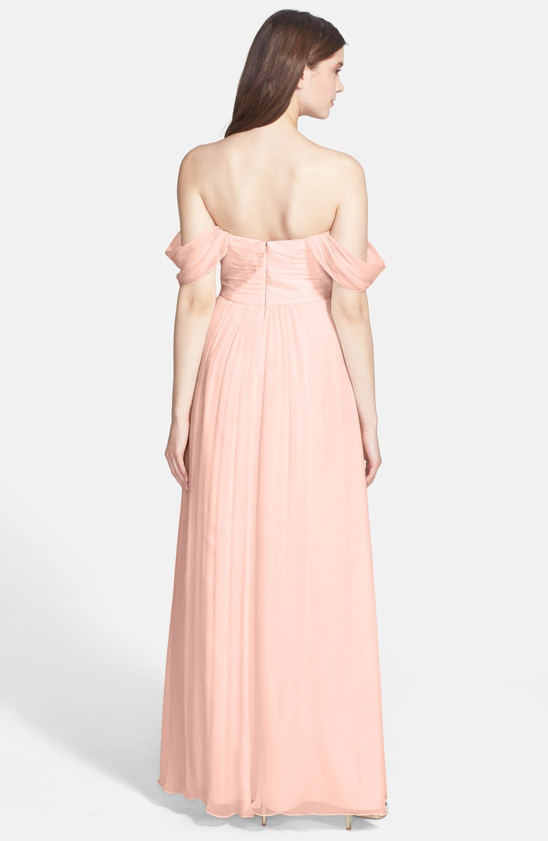 Alternate Image 2  - Amsale Convertible Crinkled Silk Chiffon Gown