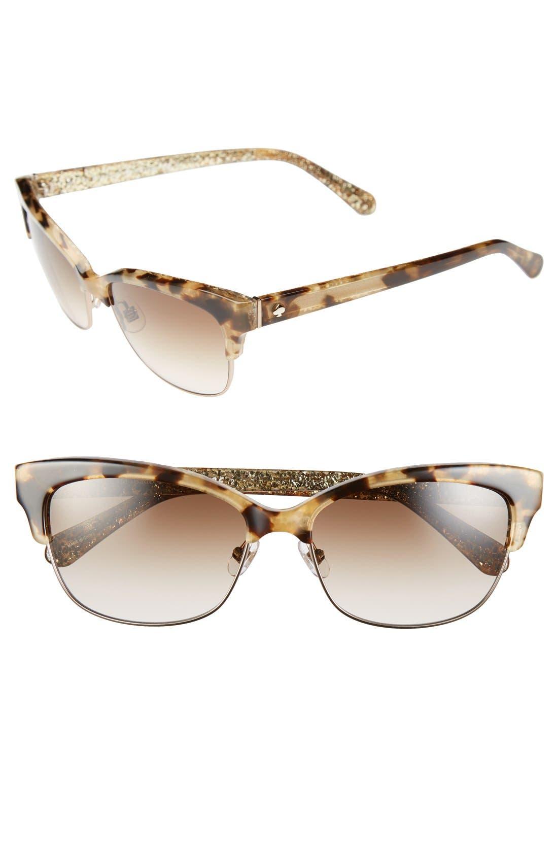 shira 55mm retro sunglasses,                         Main,                         color, Camel Tortoise