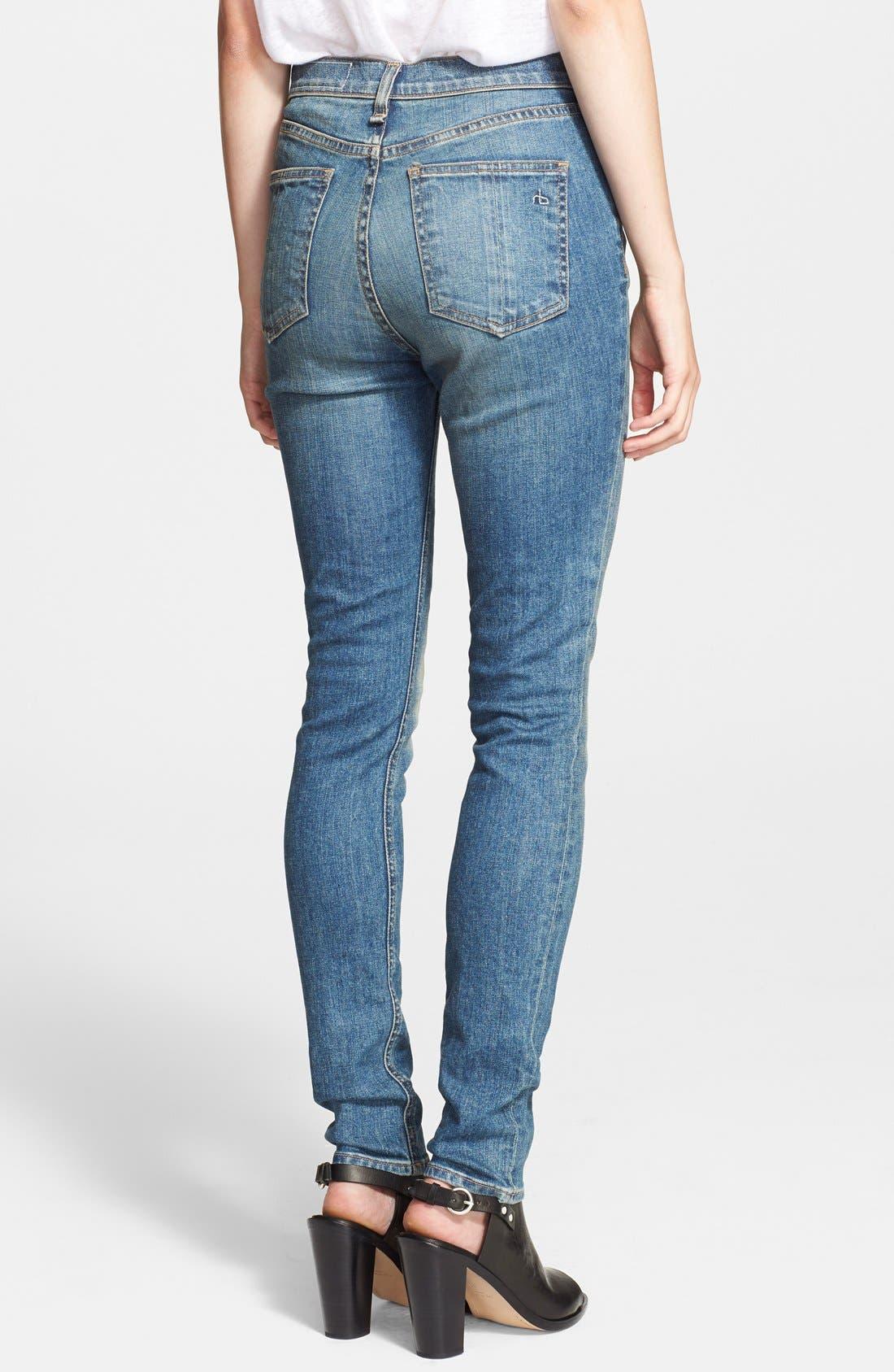 Alternate Image 2  - rag & bone/JEAN 'The Justine' High Rise Jeans (Surf)