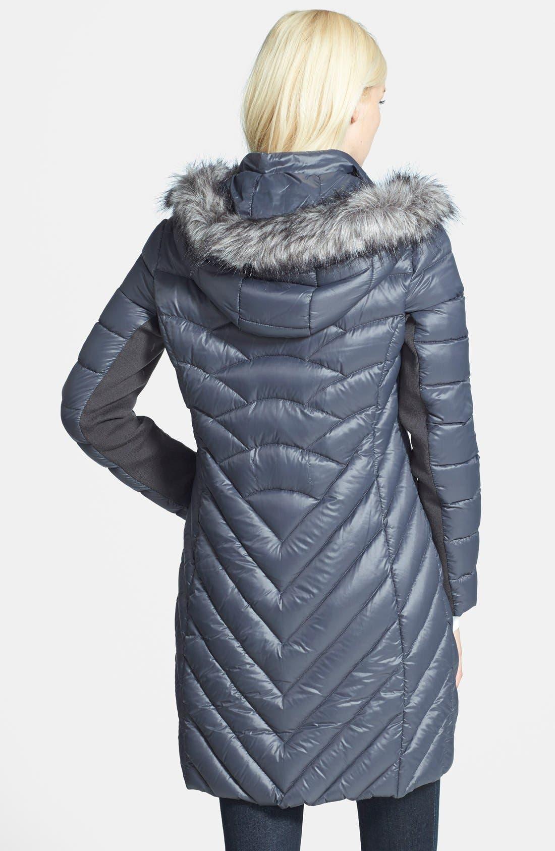 Alternate Image 2  - BCBGeneration Packable Down Coat with Faux Fur Trim