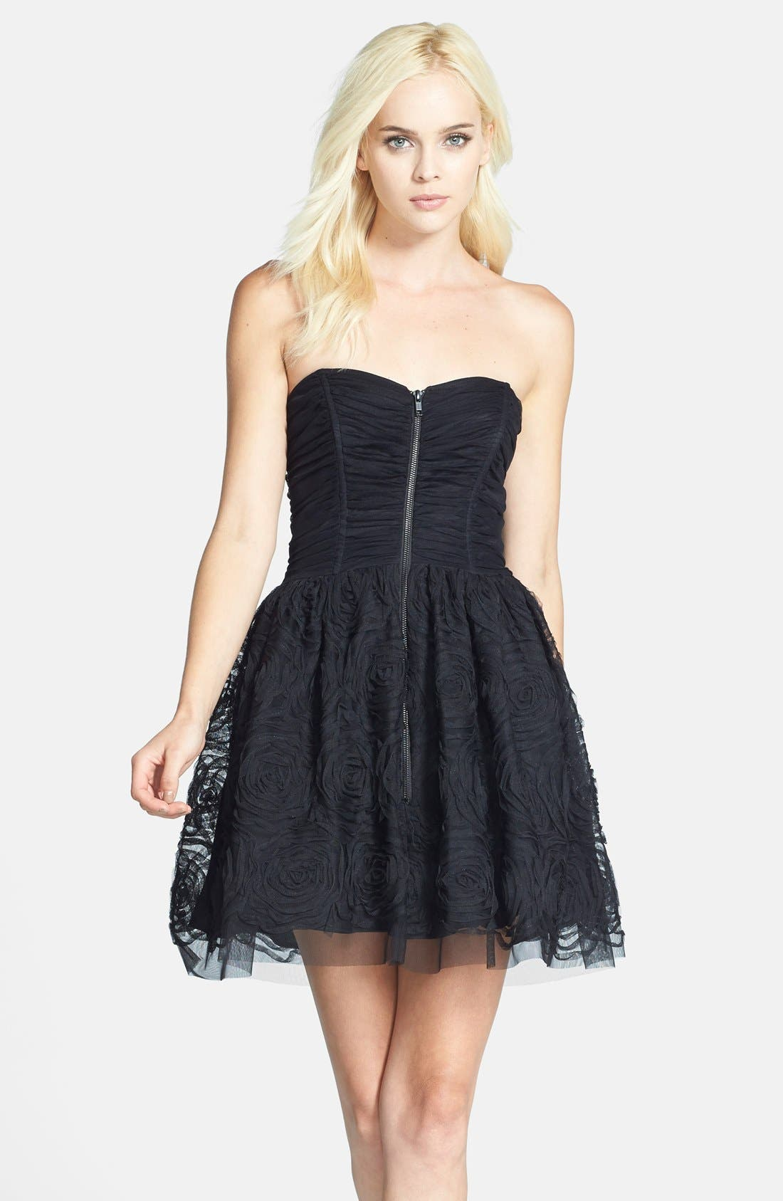 Main Image - Betsy & Adam Zip Front Ruched Fit & Flare Dress