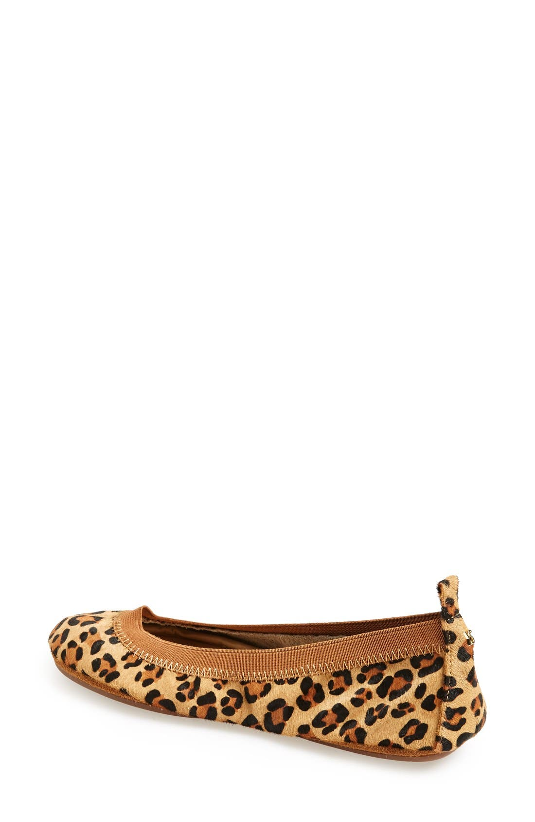 'Samara' Genuine Calf Hair Foldable Ballet Flat,                             Alternate thumbnail 2, color,                             Leopard