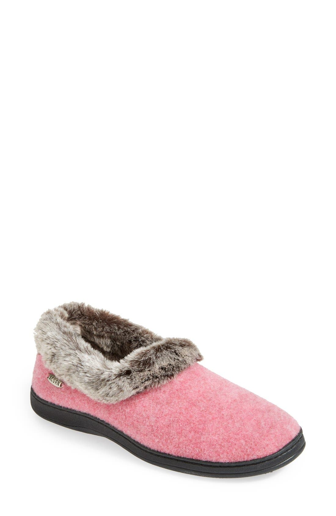 Alternate Image 1 Selected - Acorn 'Chinchilla Collar' Faux Fur Slipper (Women)