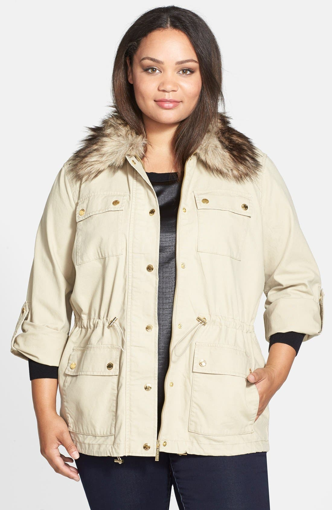 Alternate Image 1 Selected - MICHAEL Michael Kors Faux Fur Collar Anorak (Plus Size)
