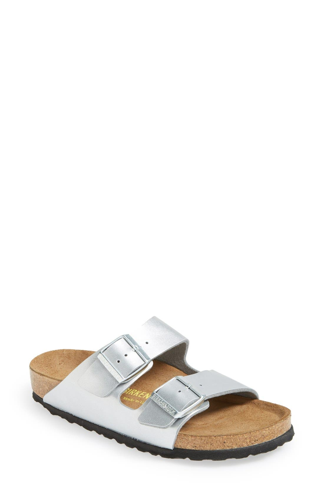'Arizona Birko-Flor' Soft Footbed Sandal,                             Main thumbnail 1, color,                             Silver