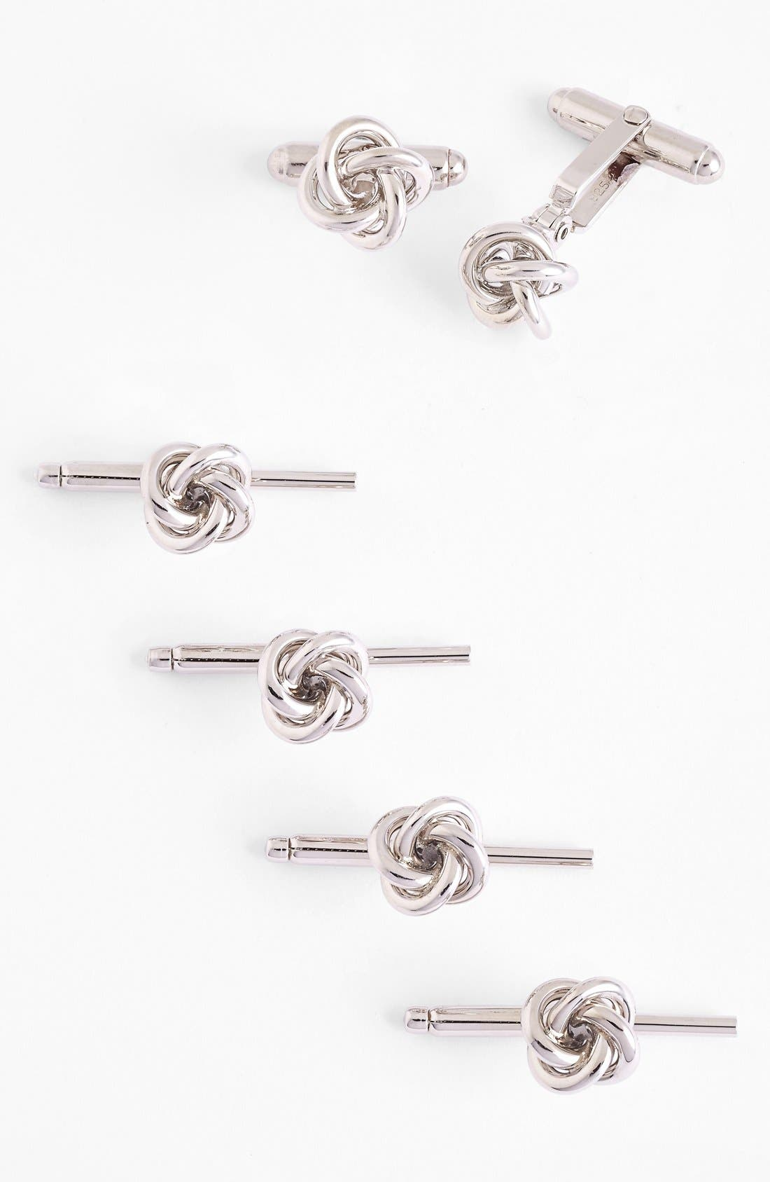 Alternate Image 1 Selected - David Donahue Knot Cuff Link & Stud Set