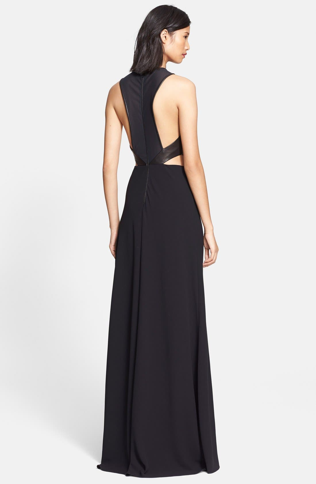 Alternate Image 2  - Alice + Olivia 'Adel' Leather Trim Cutout Detail Gown