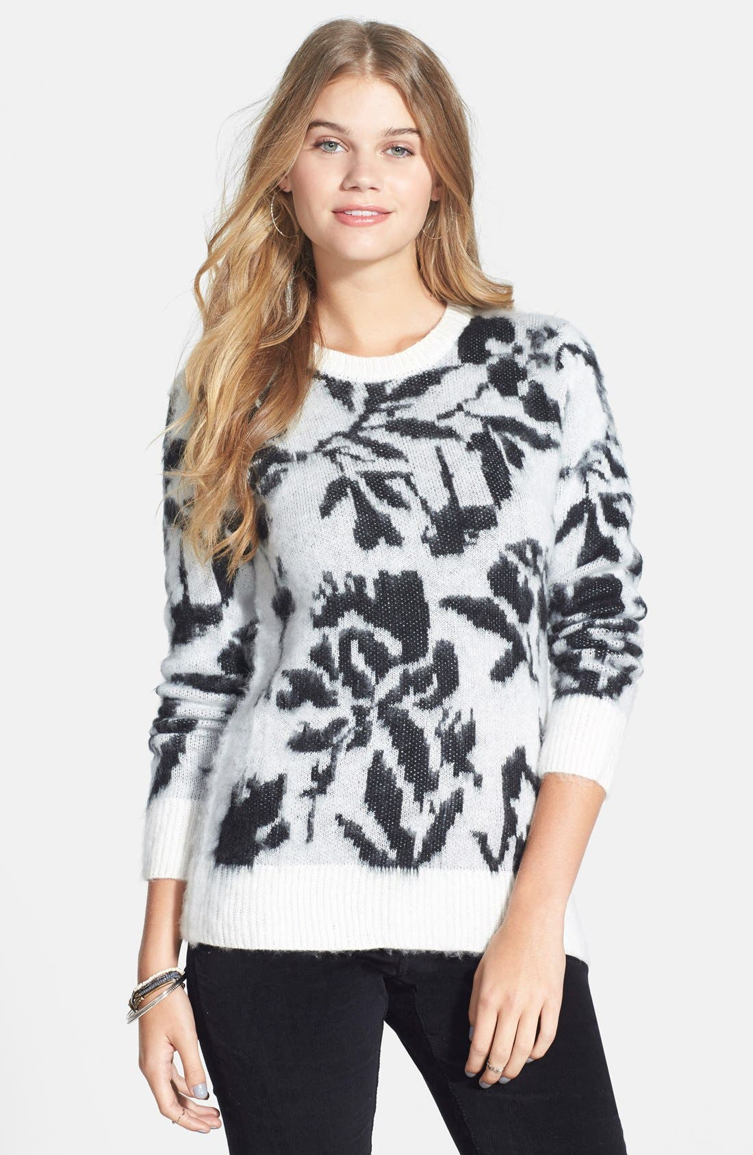 Alternate Image 1 Selected - Woven Heart Rose Sweater (Juniors)