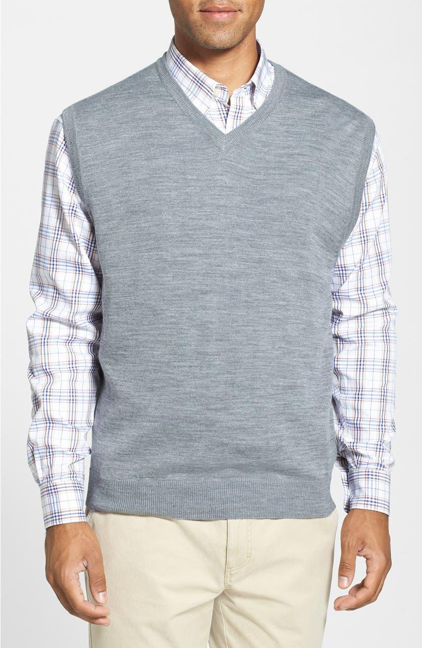 Cutter & Buck 'Douglas' Merino Wool Blend V-Neck Sweater Vest ...