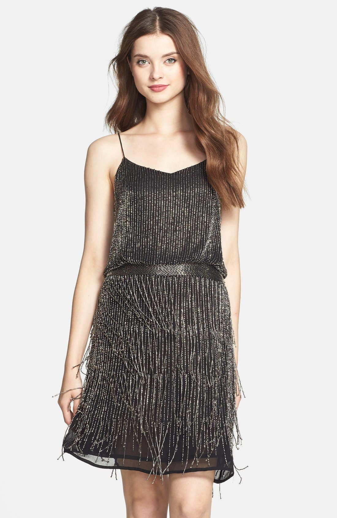 Main Image - Adrianna Papell Beaded Fringe Blouson Dress