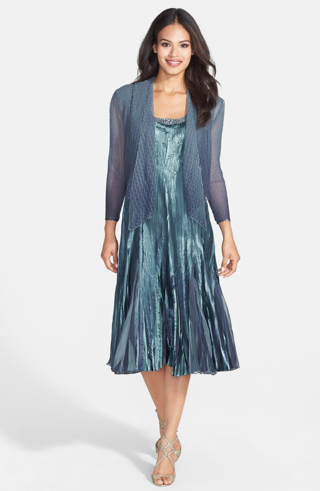Embellished Pleat Mixed Media Dress with Jacket,                             Main thumbnail 1, color,                             Silver Blue Ombre
