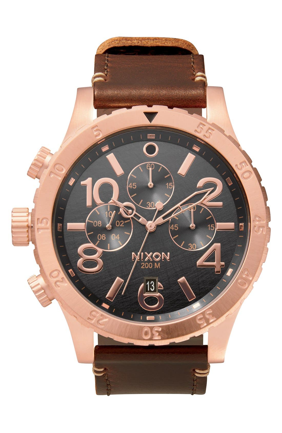 The 48-20 Chronograph Leather Strap Watch, 48mm,                         Main,                         color, Brown/ Rose Gold/ Gunmetal