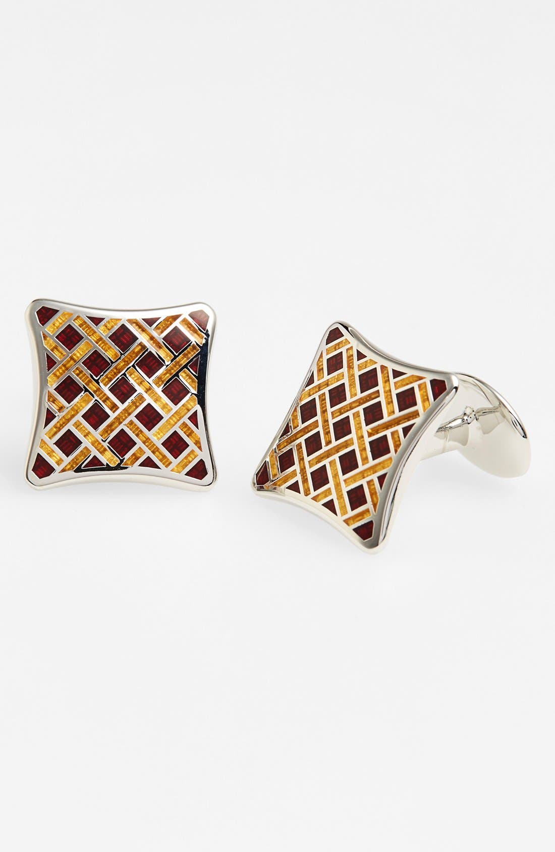 Basketweave Cuff Links,                         Main,                         color, Silver/ Wine/ Gold