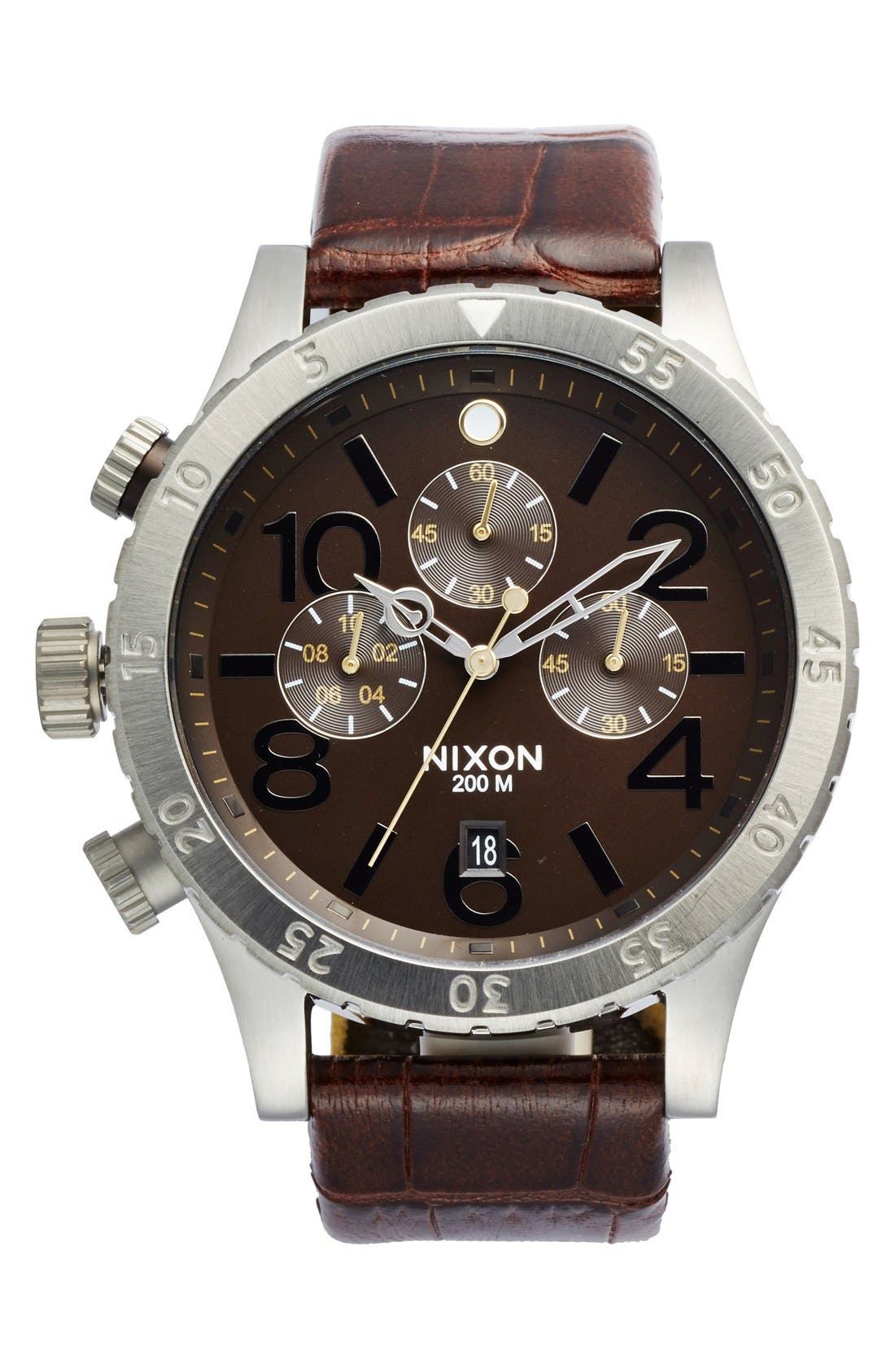 'The 48-20' Chronograph Leather Strap Watch, 48mm,                         Main,                         color, Brown Gator