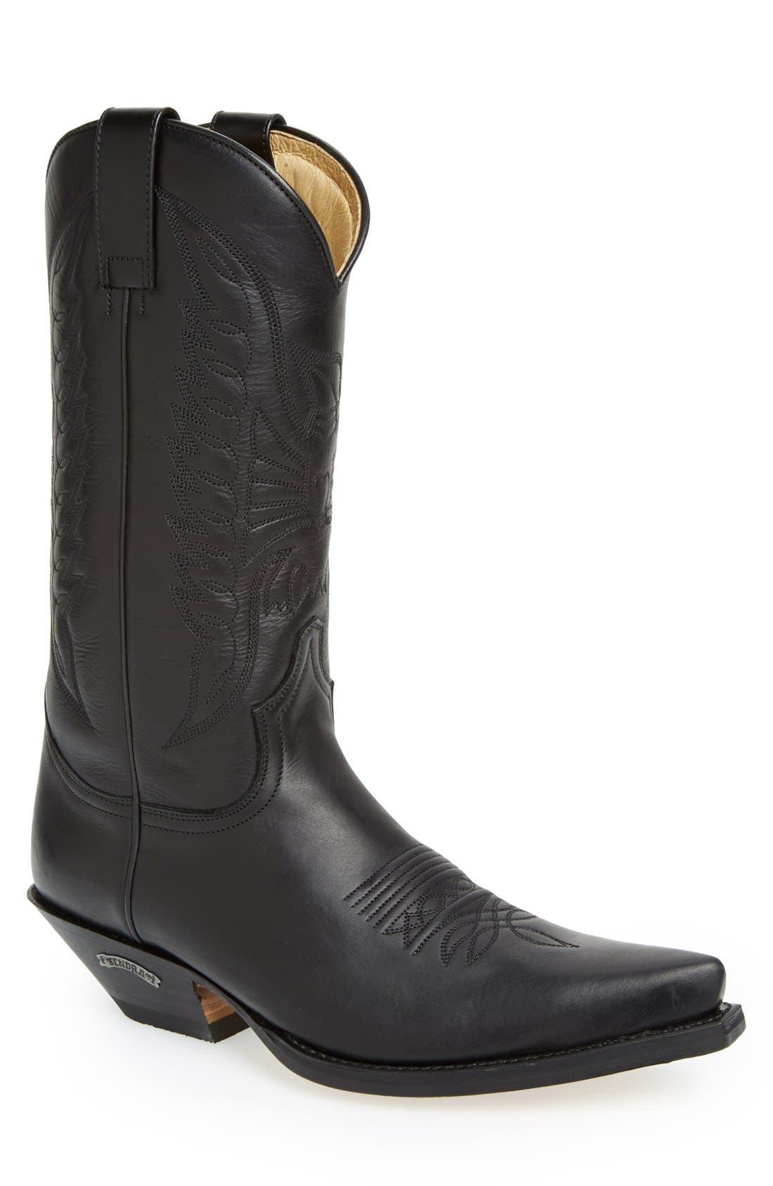 'Reno' Cowboy Boot,                             Main thumbnail 1, color,                             Black