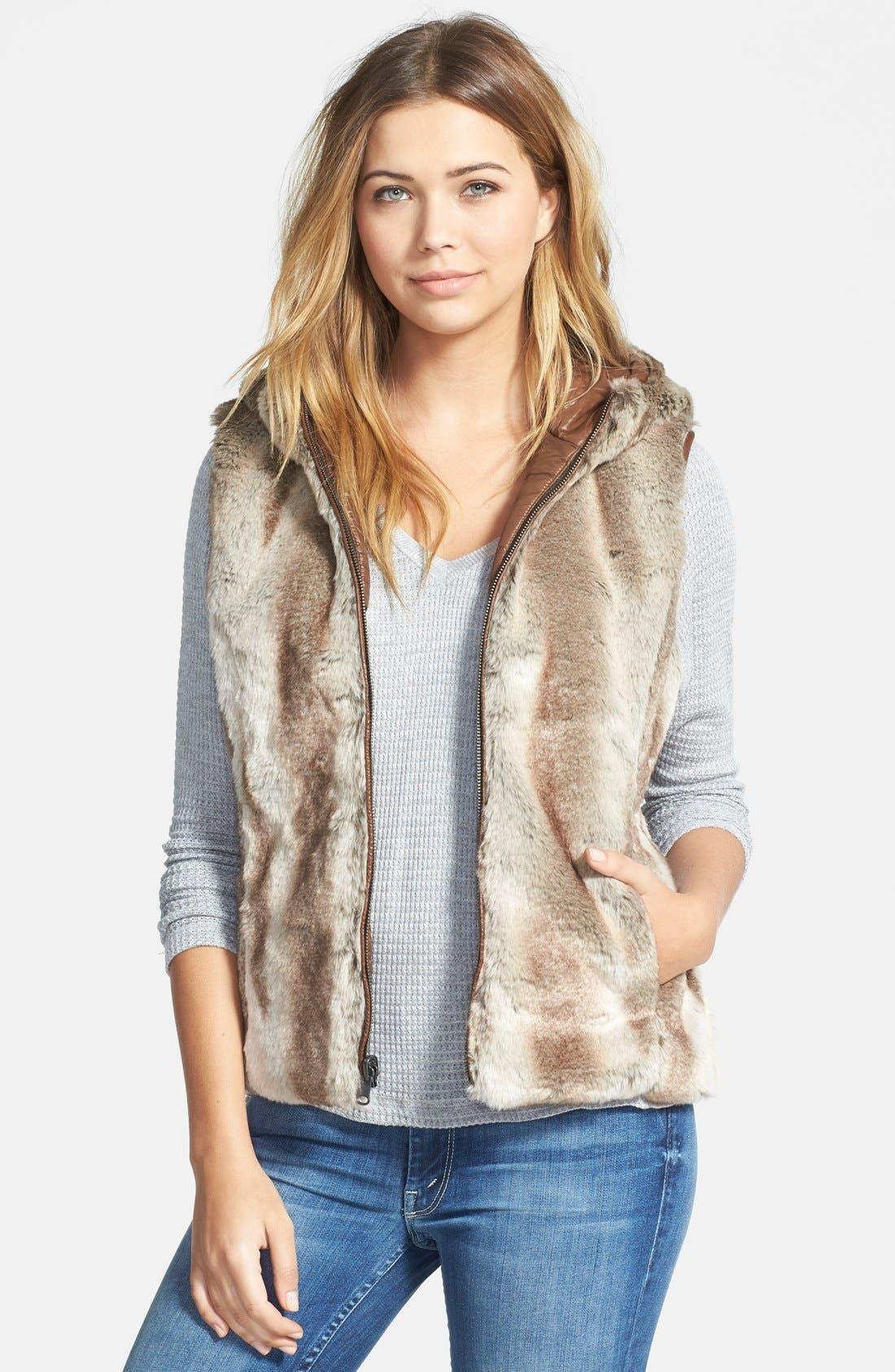 Alternate Image 1 Selected - STELLA + LORENZO Reversible Faux Fur Hooded Down Vest