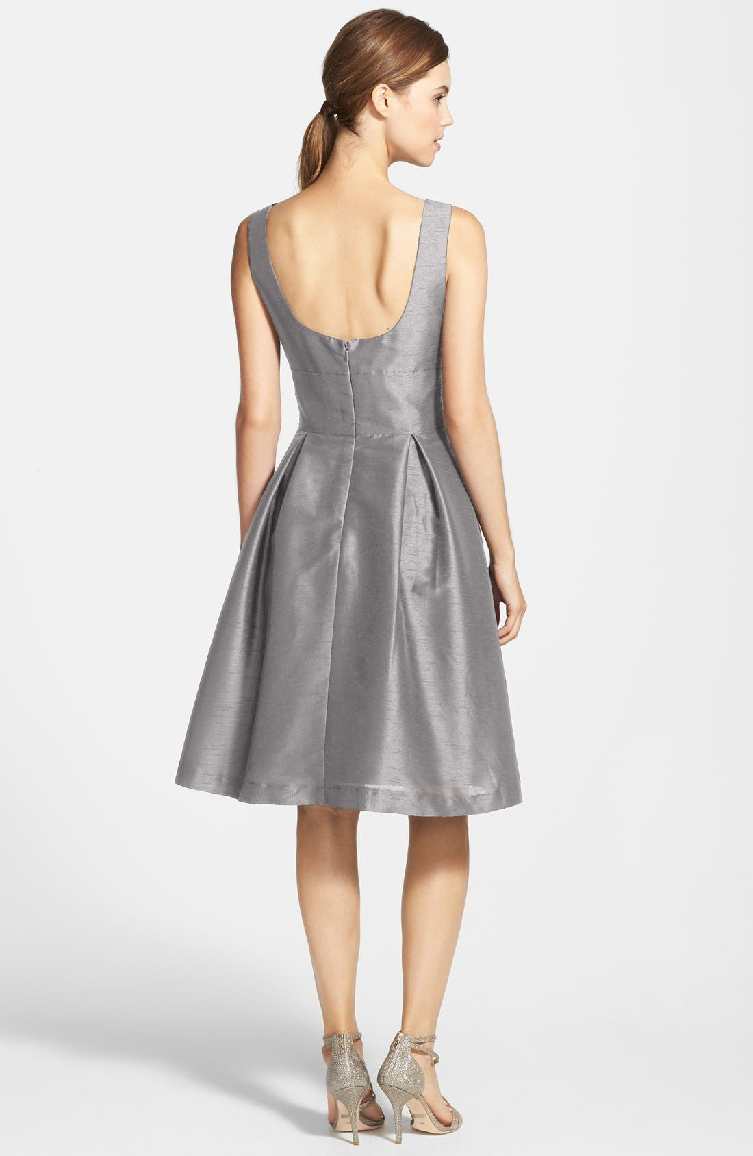 Dupioni Fit & Flare Dress,                             Alternate thumbnail 2, color,                             Quarry