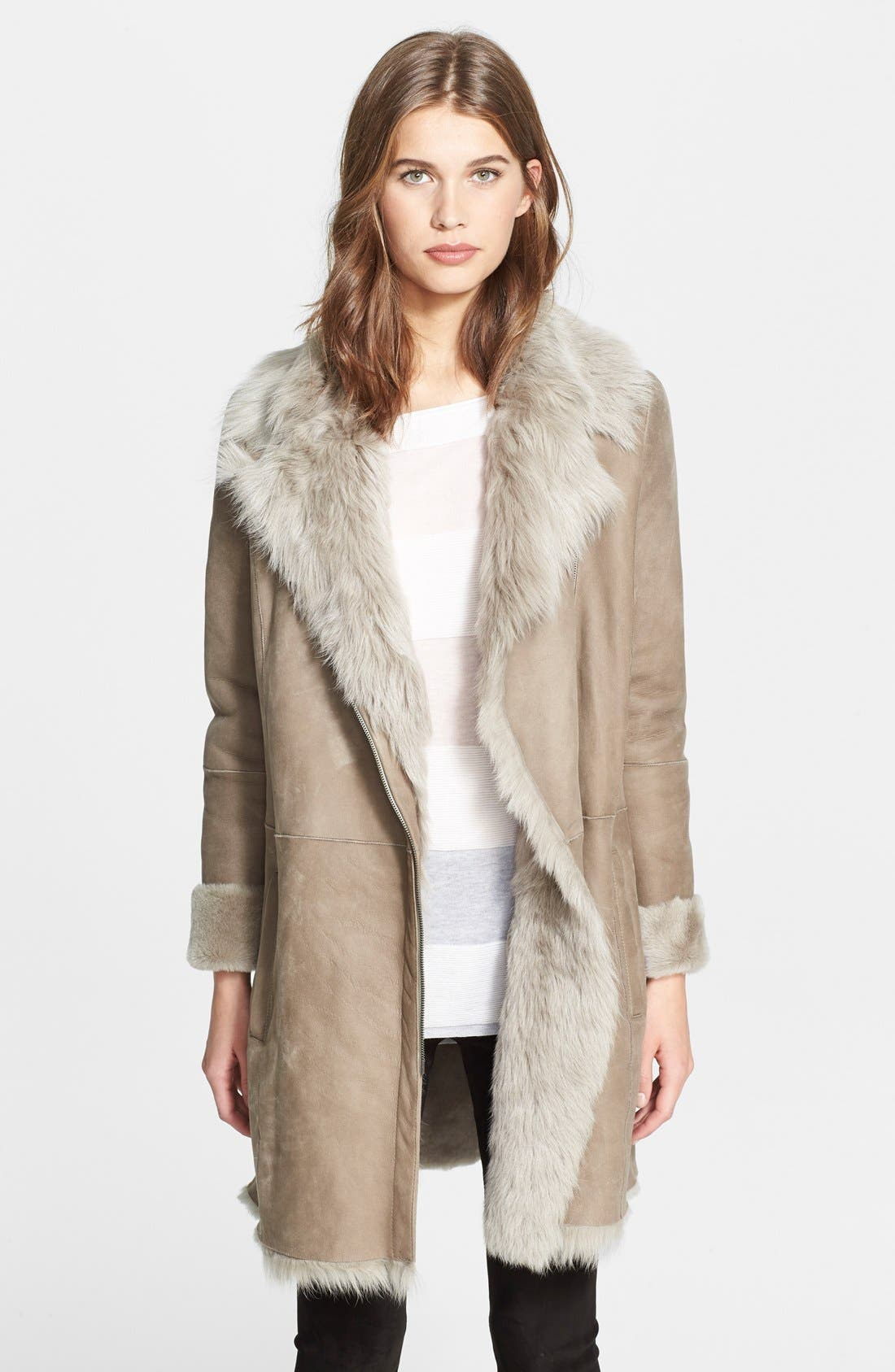 Vince Asymmetrical Genuine Shearling Coat | Nordstrom
