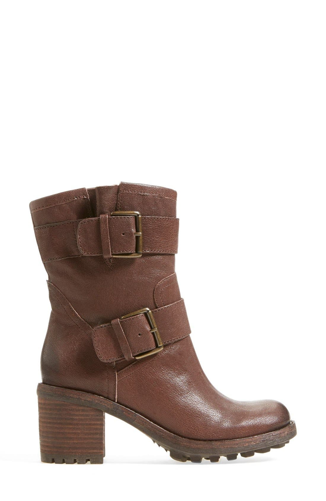 'Troy' Moto Boot,                             Alternate thumbnail 7, color,                             Dark Brown Leather