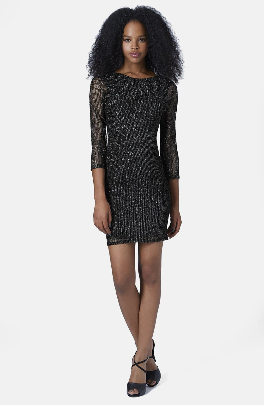 Alternate Image 5  - Topshop Glitter Mesh Body-Con Dress