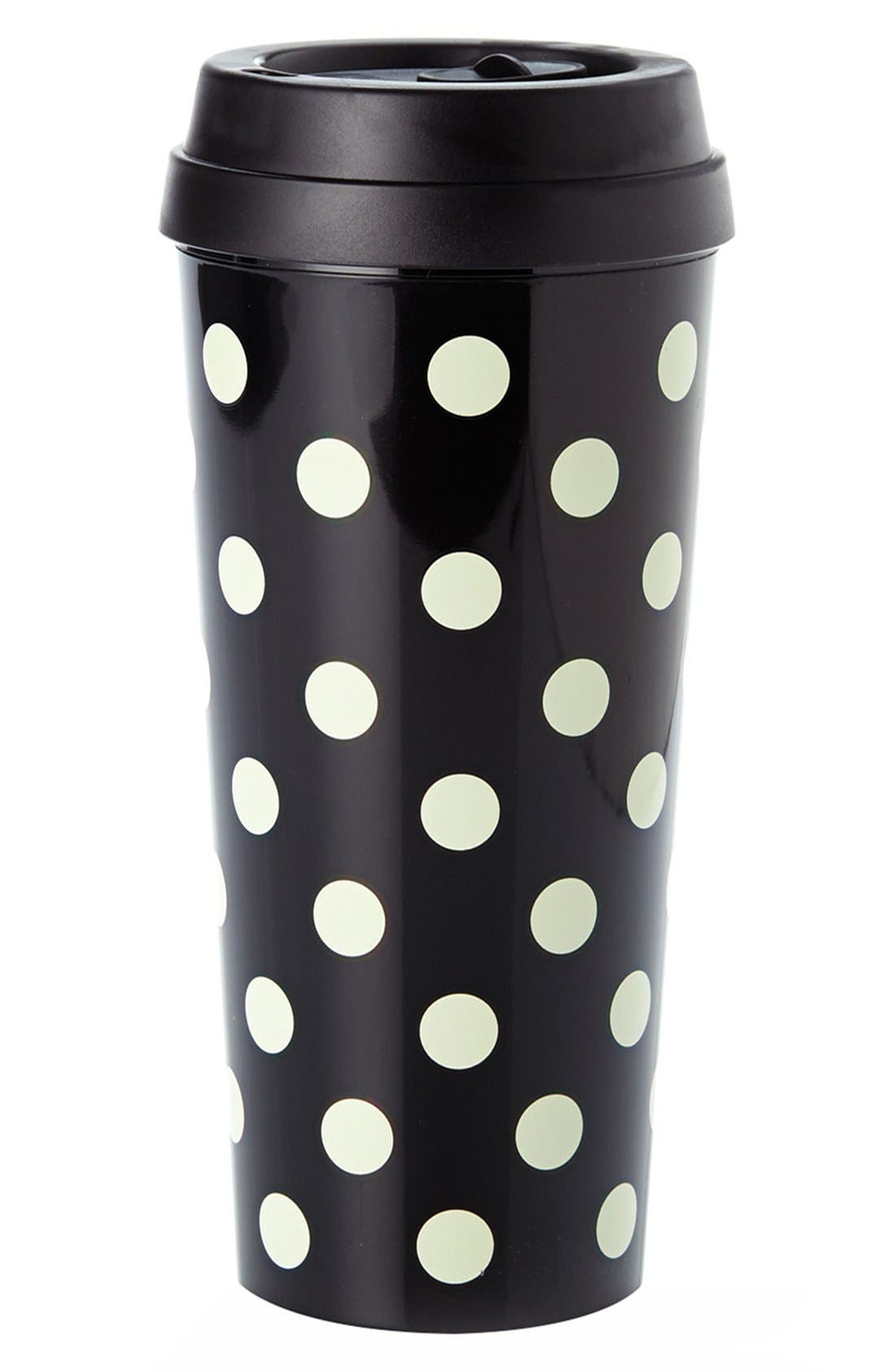 dot thermal travel mug,                             Main thumbnail 1, color,                             Black