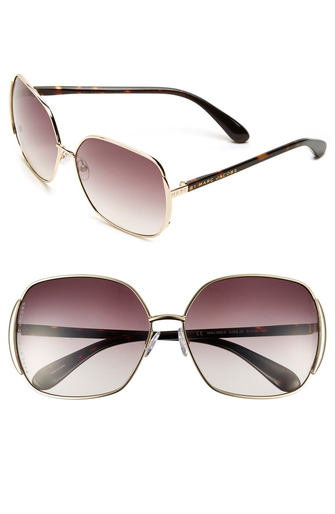 61mm Vintage Inspired Oversized Sunglasses,                         Main,                         color, Gold