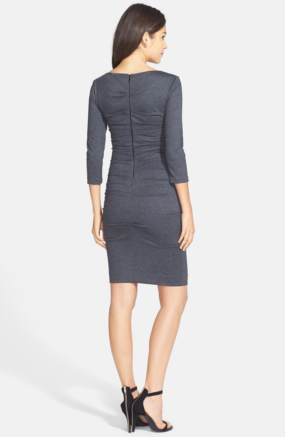 Alternate Image 2  - Nicole Miller Ruched Ponte Knit Sheath Dress