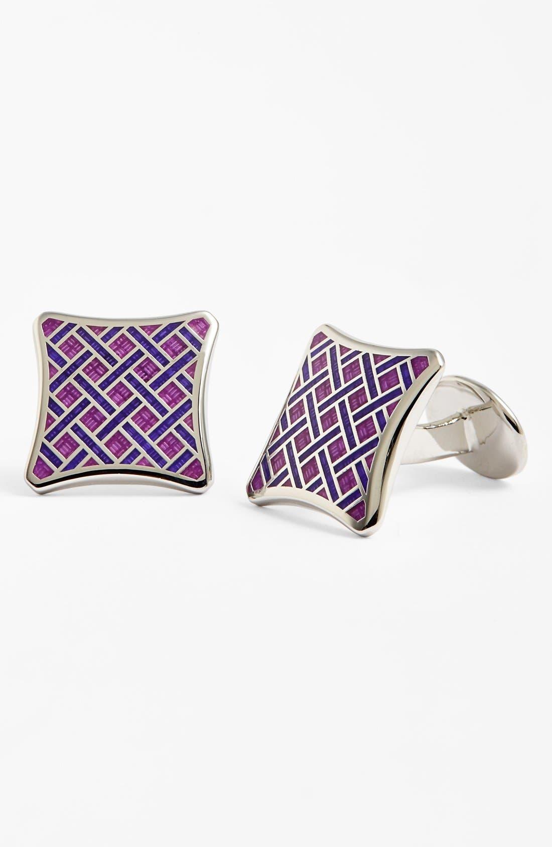 Sterling Silver Basketweave Cuff Links,                         Main,                         color, Silver/ Light Purple/ Violet