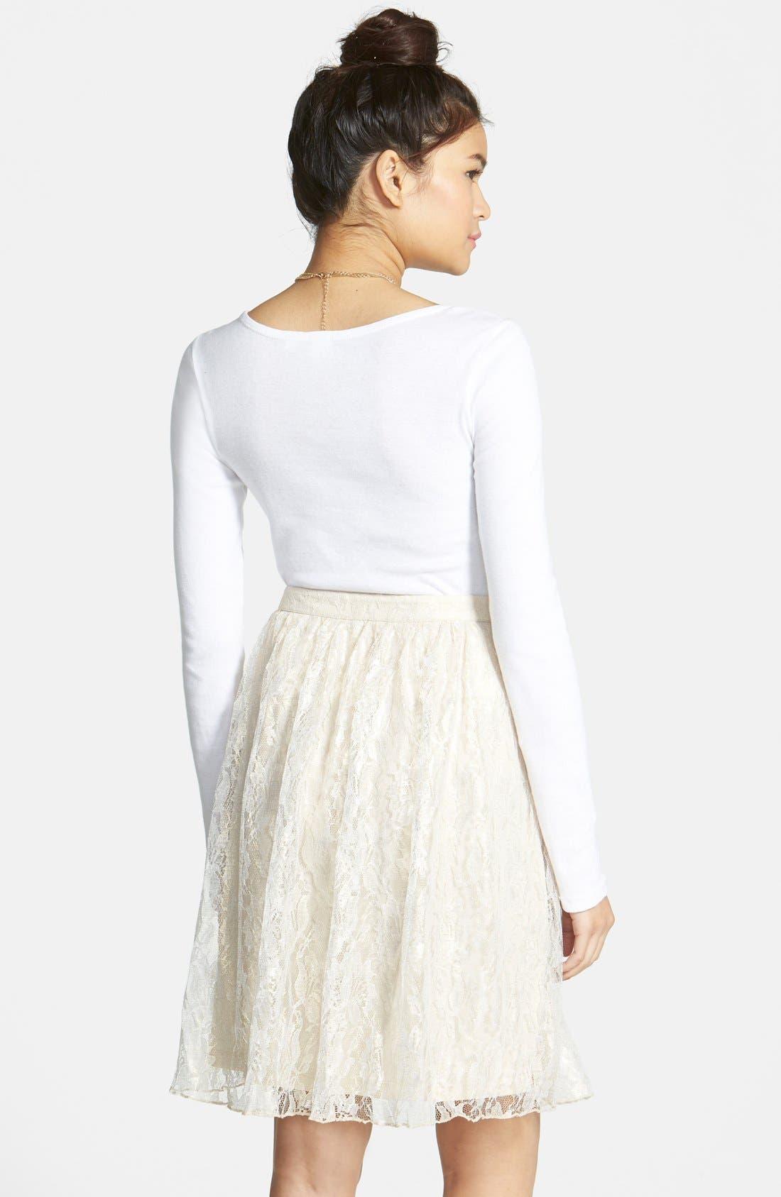 Alternate Image 2  - Frenchi® 'Lace Shine' Midi Skirt (Juniors)