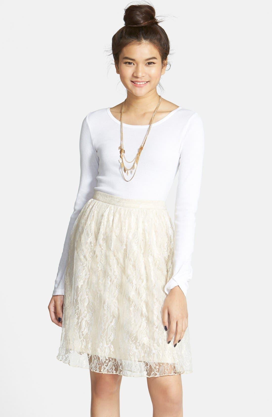 Alternate Image 1 Selected - Frenchi® 'Lace Shine' Midi Skirt (Juniors)