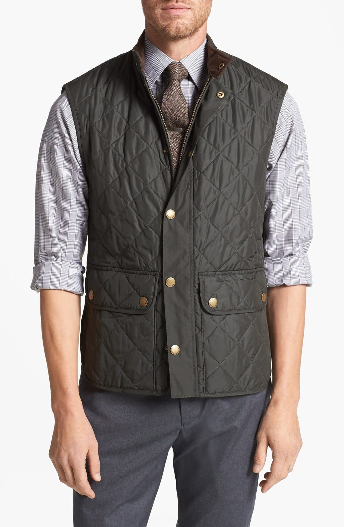 'Lowerdale' Trim Fit Quilted Vest,                         Main,                         color, Dark Green