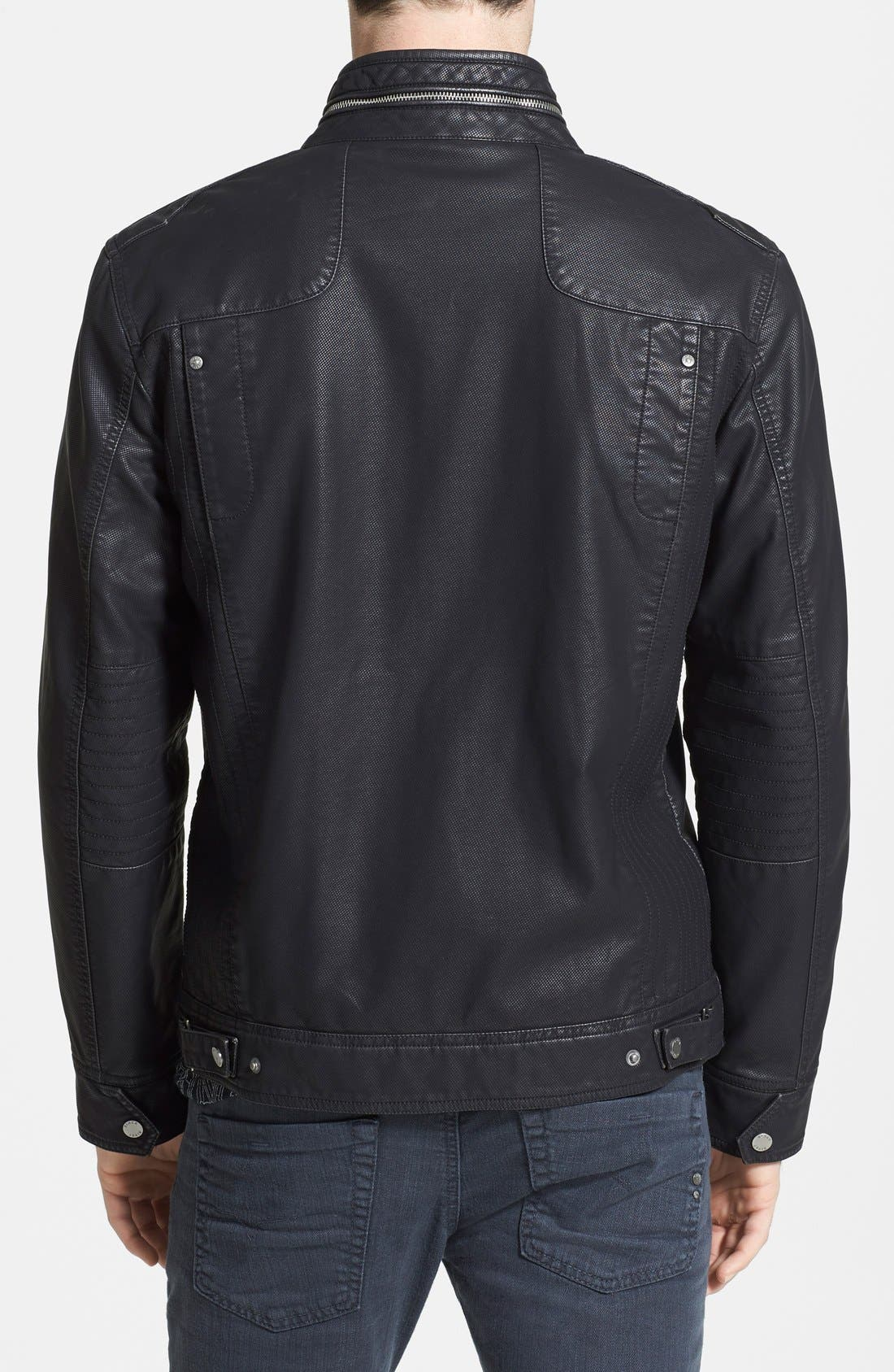 Alternate Image 2  - Black Rivet Faux Leather Jacket