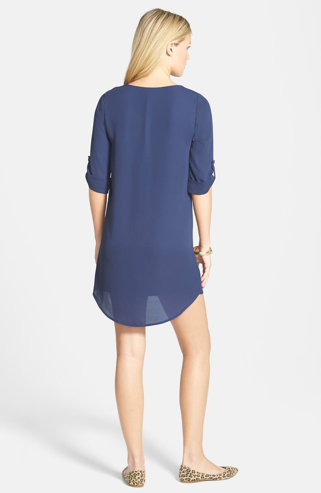 Alternate Image 2  - Everly Roll Tab Sleeve Shift Dress (Juniors)