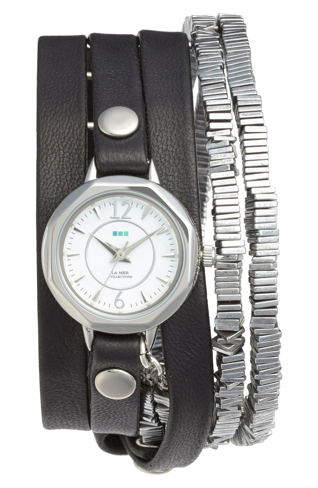 'Highline' Leather & Stone Wrap Watch, 19mm,                         Main,                         color, Black/ Silver