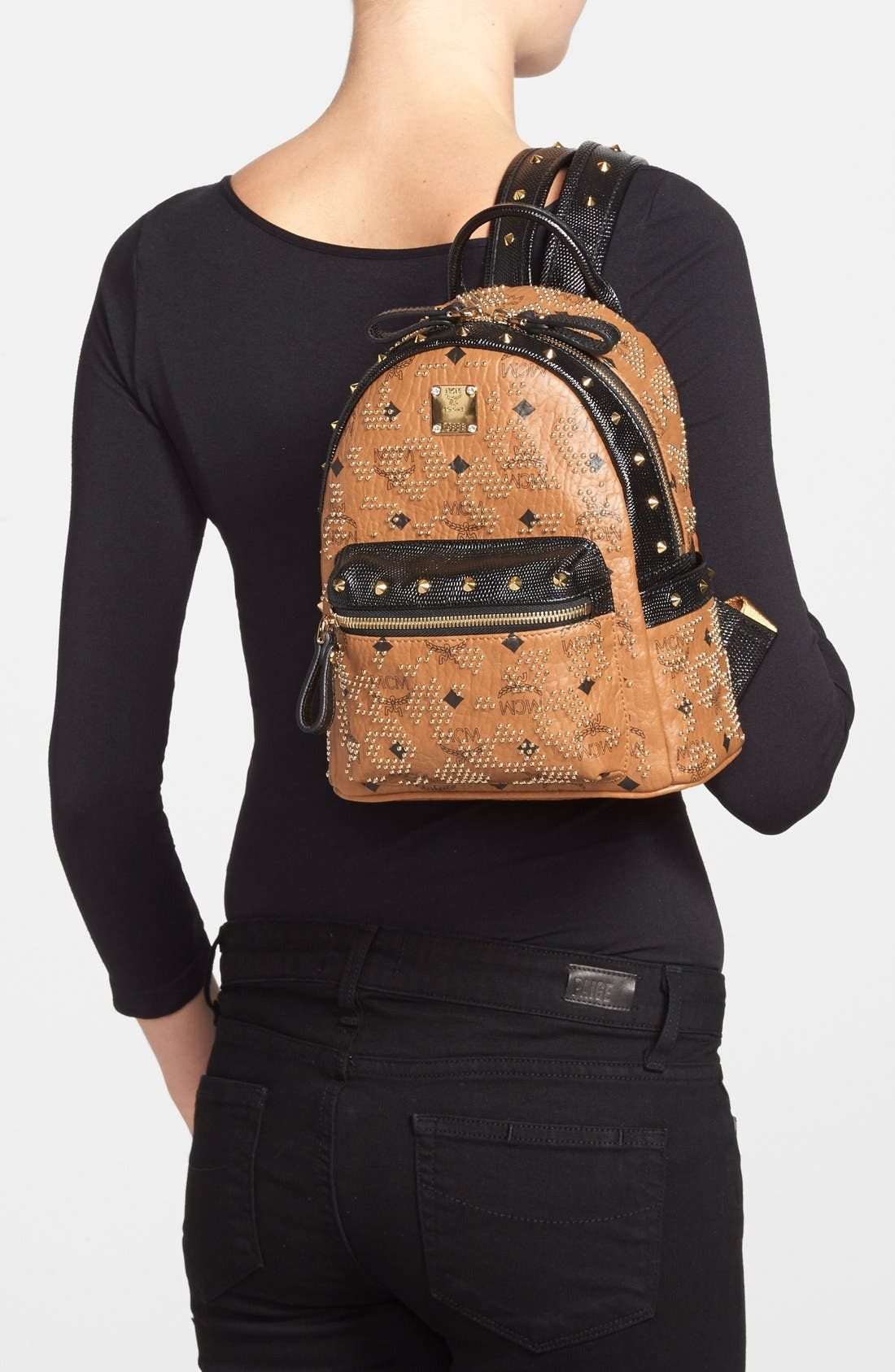 Alternate Image 2  - MCM 'Mini Visetos' Studded Logo Print Backpack