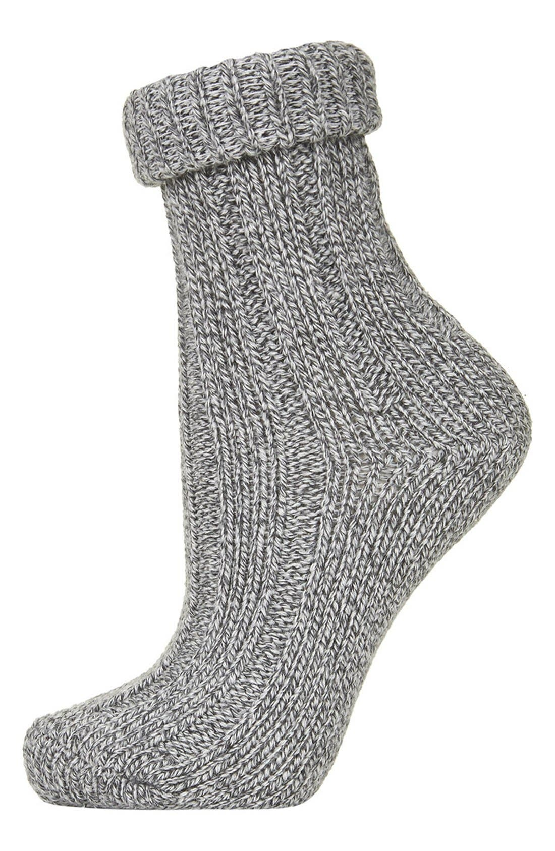 Main Image - Topshop Roll Top Knit Ankle Socks