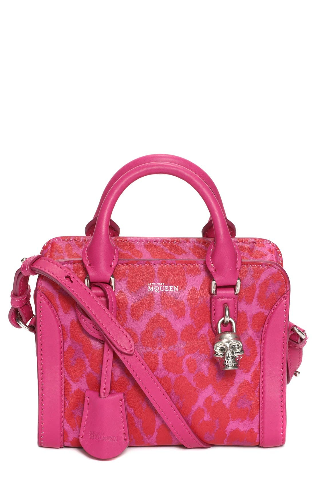 Main Image - Alexander McQueen 'Mini Padlock' Leopard Print Leather Duffel Bag