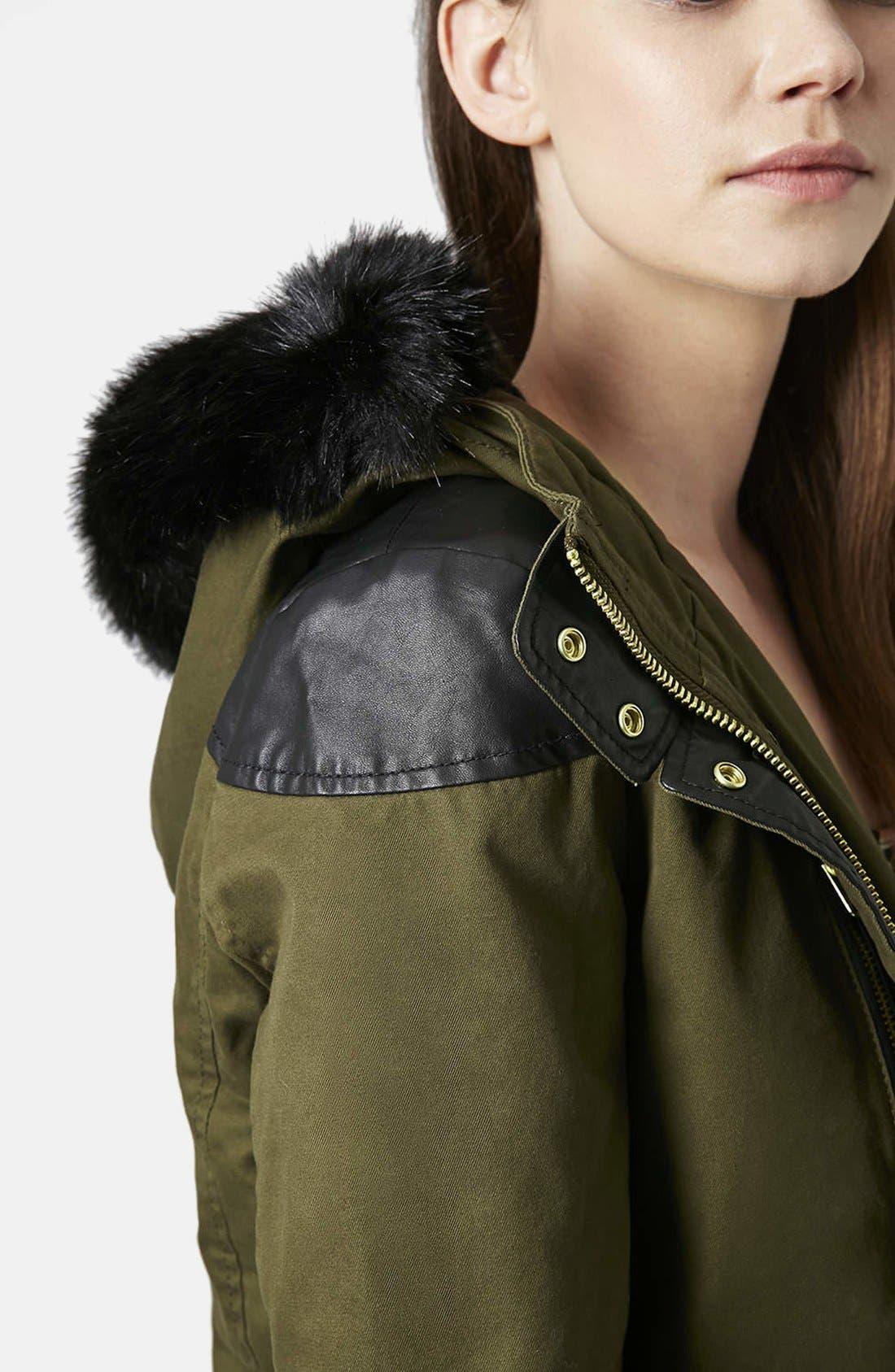Alternate Image 4  - Topshop Faux Fur Trim Parka