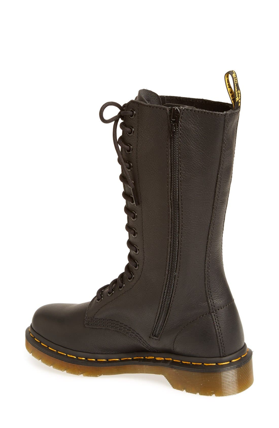 '1B99' Leather Boot,                             Alternate thumbnail 2, color,                             Black Virginia