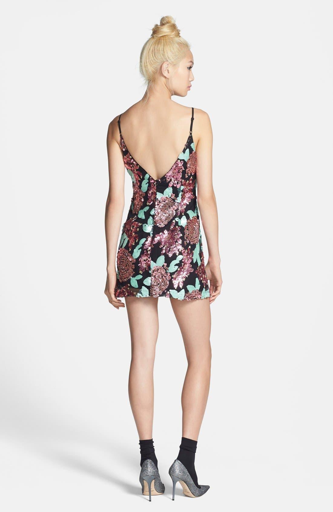 Alternate Image 2  - Glamorous Sequin Flower Shift Dress