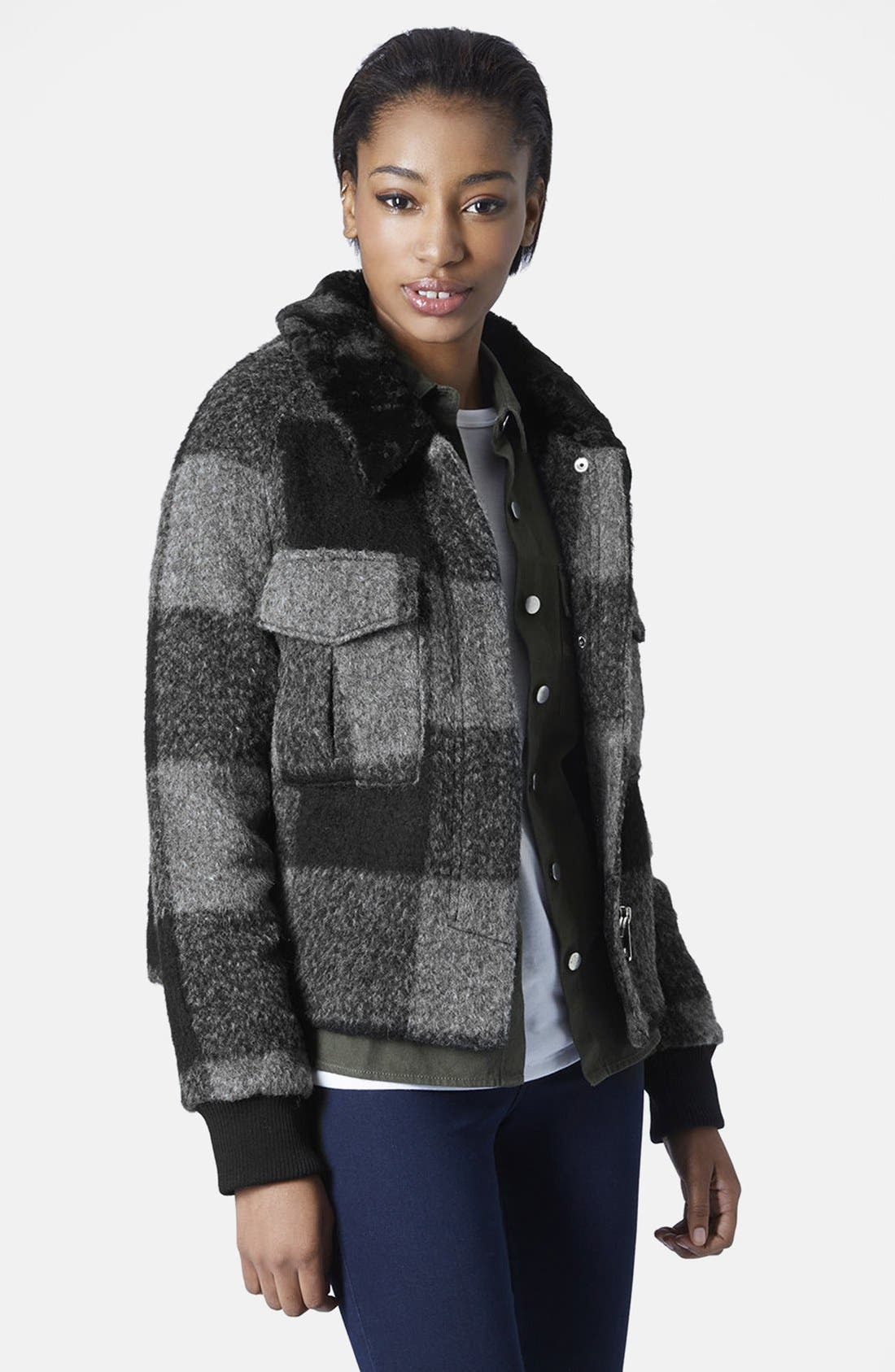 Main Image - Topshop 'Harrington' Faux Fur Jacket