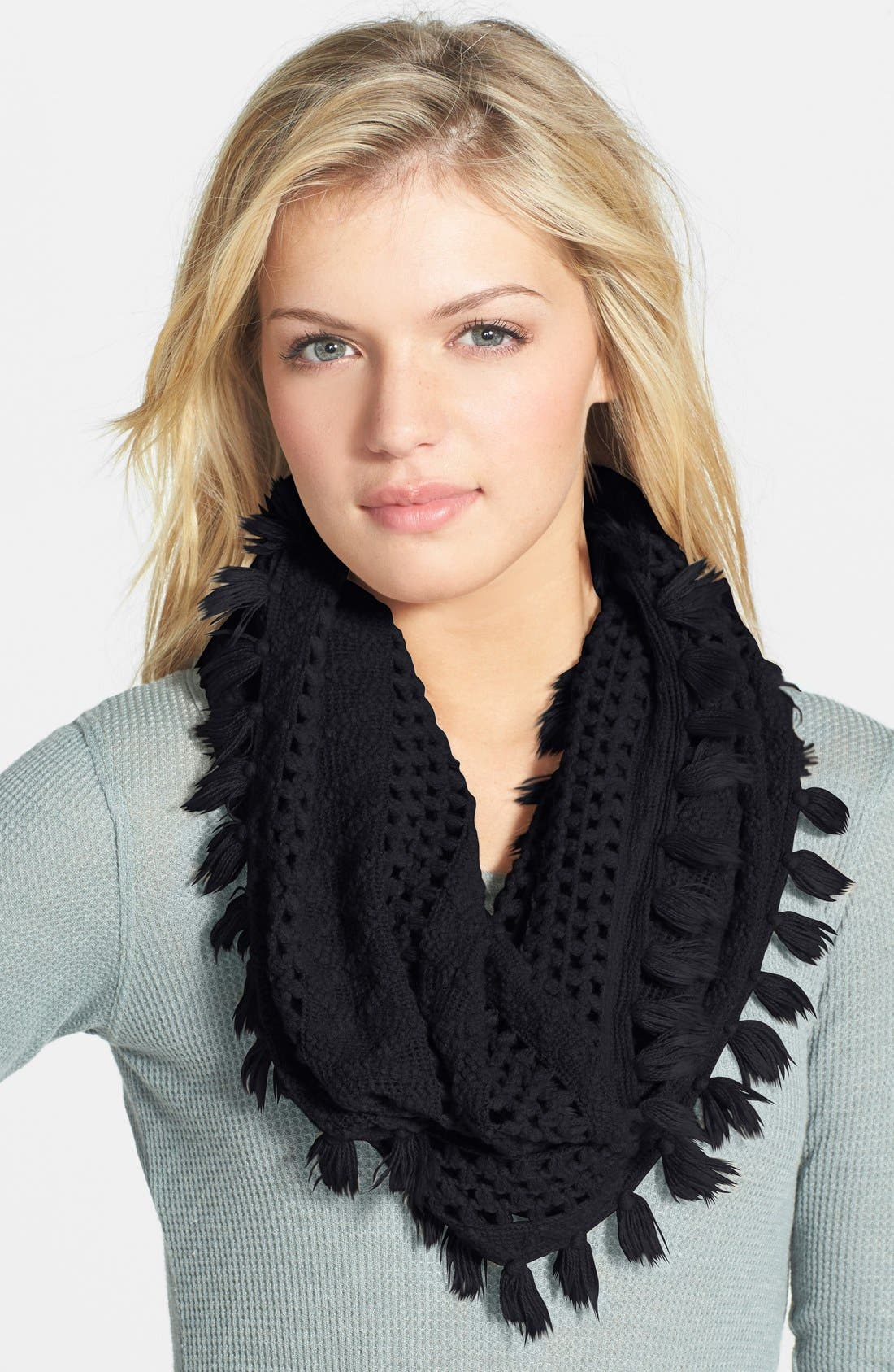 Tassel Open Knit Infinity Scarf,                             Main thumbnail 1, color,                             Black