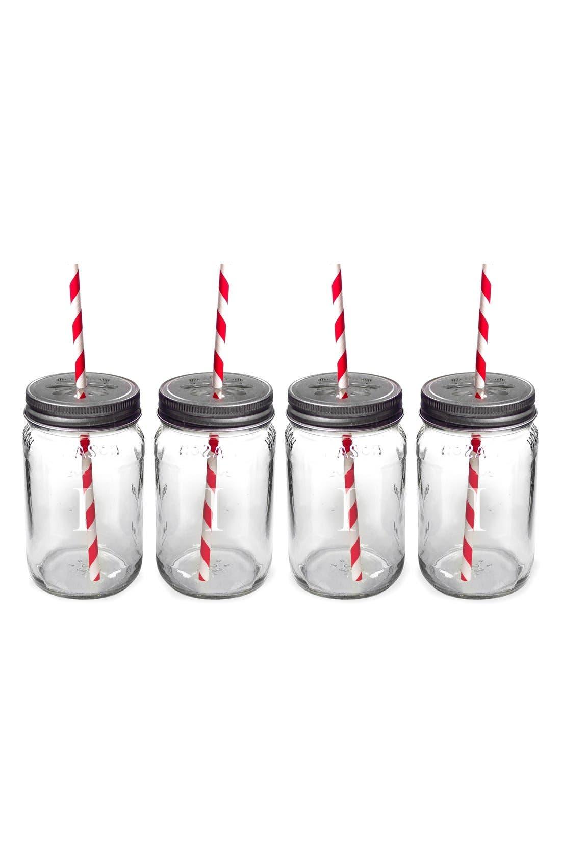 Main Image - Cathy's Concepts Monogram Drinking Mason Jar Mugs (Set of 4)