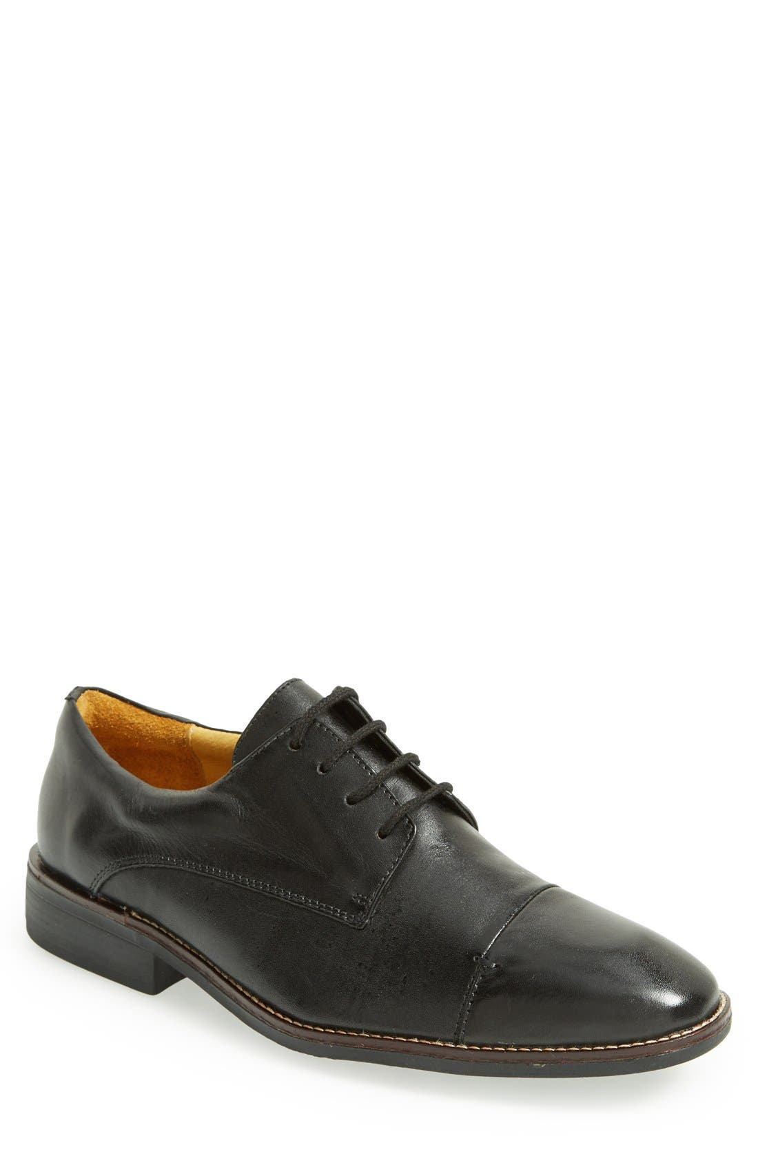 'Irving' Cap Toe Derby,                             Main thumbnail 1, color,                             Black